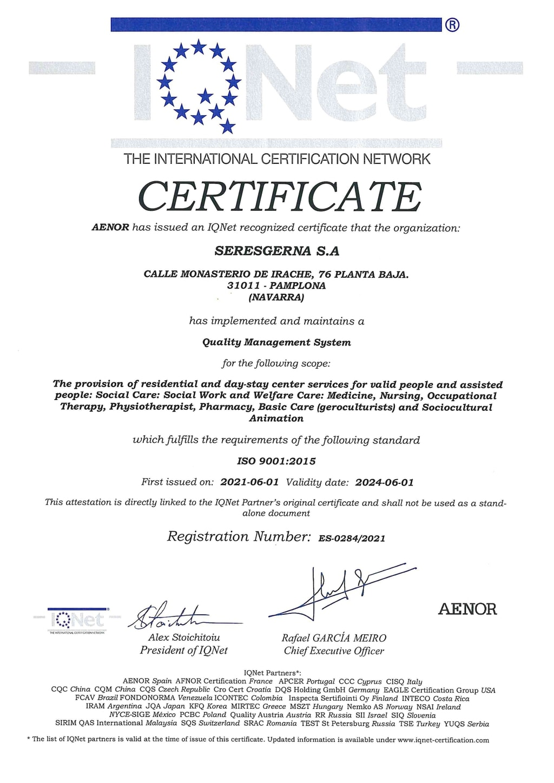 certificado ISO 9001 seresgerna aenor